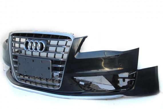 AUDI A8 S8 S-LINE ZDERZAK PRZEDNI PRZÓD 4H0 4H D4 2010-2015 Kolor: LZ9Y - czarny phantom kratki ACC