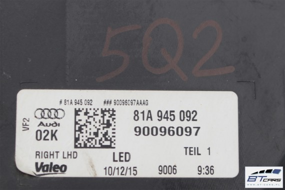 AUDI Q2 LAMPY LED TYLNE TYŁ 81A945091 81A945092  81A 945 091 81A 945 092